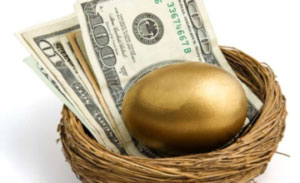 Golden Egg and Paper Bills on a nest